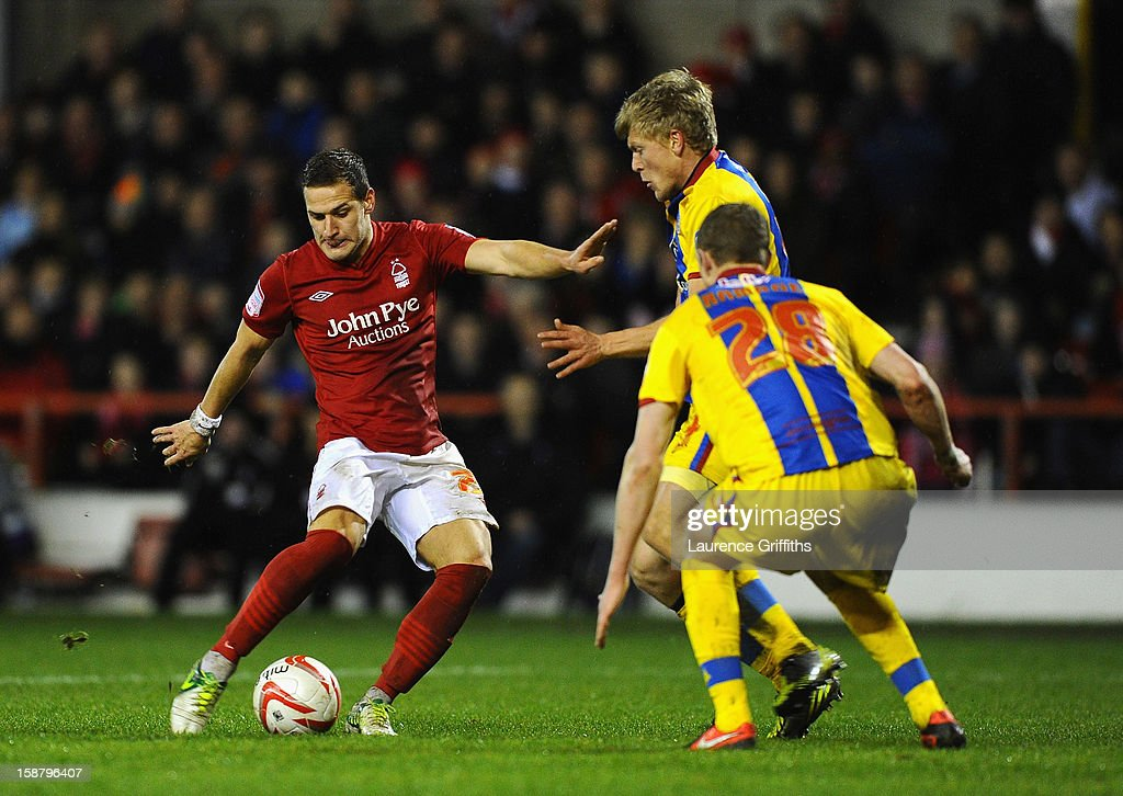 Billy Sharp of Nottingham Forest battles shoots at goal during the npower Championship match between Nottingham Forest and Crystal Palace at City Ground on December 29, 2012 in Nottingham, England.