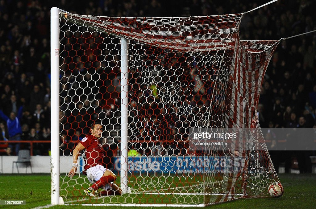 Billy Sharp of Nottingham Forest scores the equalising goal during the npower Championship match between Nottingham Forest and Crystal Palace at City Ground on December 29, 2012 in Nottingham, England.
