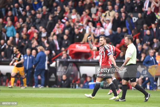 Billy Sharp of Sheffield United celebrates after scoring during the Sky Bet League One match between Sheffield United and Bradford City at Bramall...
