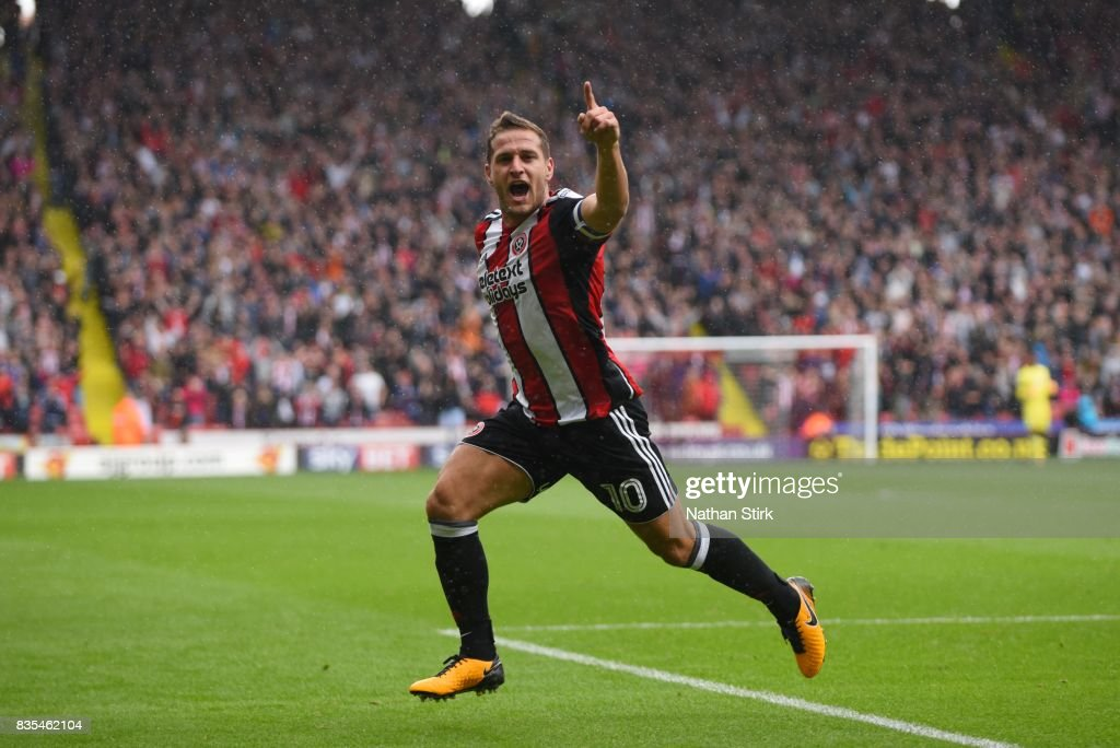 Billy Sharp of Sheffield United celebrates after scoring during the Sky Bet Championship match between Sheffield United and Barnsley at Bramall Lane on August 19, 2017 in Sheffield, England.