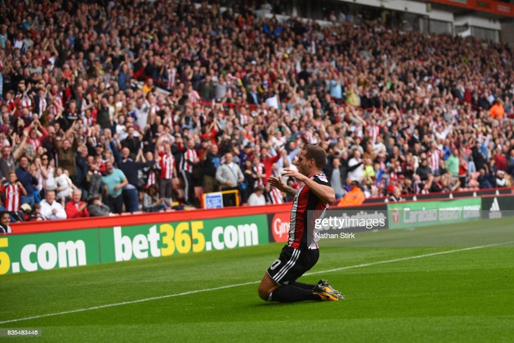 Billy Sharp of Sheffield United celebrates during the Sky Bet Championship match between Sheffield United and Barnsley at Bramall Lane on August 19, 2017 in Sheffield, England.