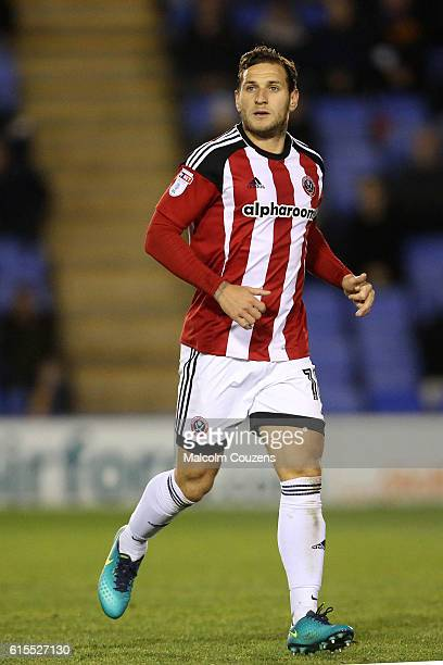 Billy Sharp of Sheffield United in action during the Sky Bet League One game between Shrewsbury Town and Sheffield United at Greenhous Meadow on...