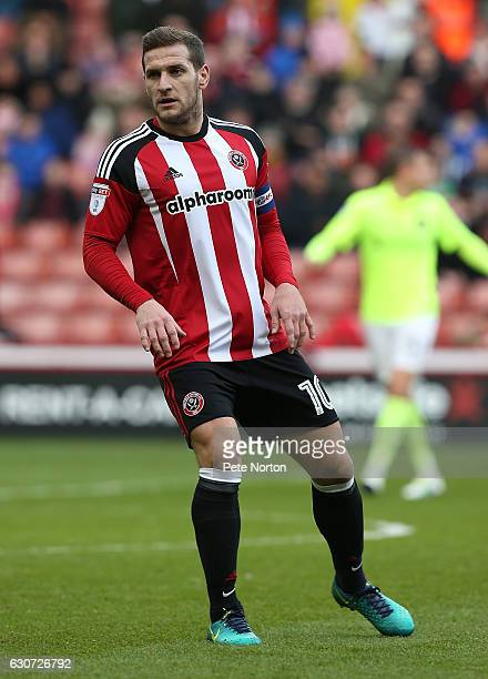 Billy Sharp of Sheffield United in action during the Sky Bet League One match between Sheffield United and Northampton Town at Bramall Lane on...