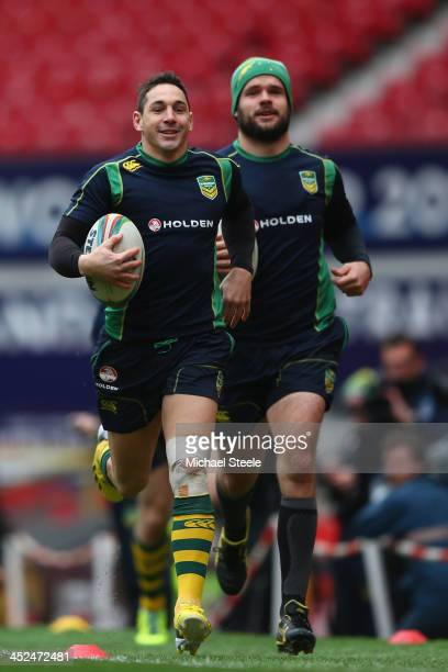 Billy Slater alongside Nate Myles during the Australia training session at Old Trafford on November 29 2013 in Manchester England