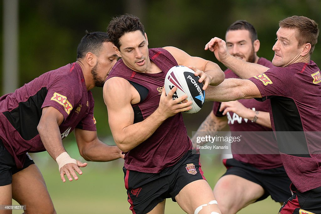 Billy Slater attempts to break through the defence during a Queensland Maroons State of Origin training session at Sanctuary Cove Resort on May 21...