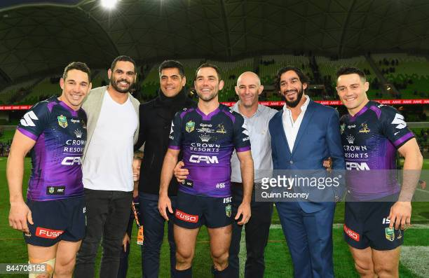 Billy Slater Greg Inglis Stephen Kearney Cameron Smith Matt Geyer Johnathan Thurston and Cooper Cronk of the Storm pose during the NRL Qualifying...