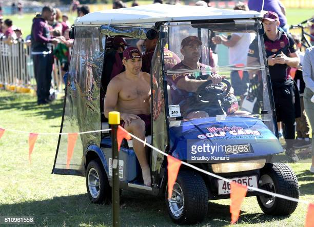 Billy Slater is taken from the field injured during a Queensland Maroons State of Origin training session at Sanctuary Cove on July 9 2017 in...