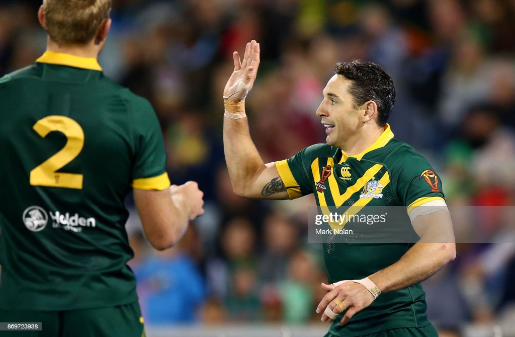 Billy Slater of Australia celebrates scoring a try during the 2017 Rugby League World Cup match between Australian Kangaroos and France at Canberra Stadium on November 3, 2017 in Canberra, Australia.