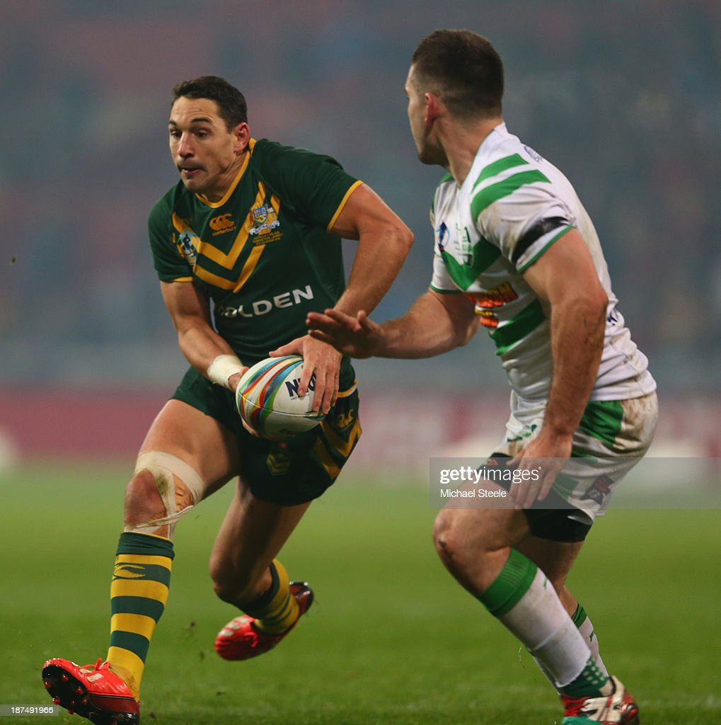 <a gi-track='captionPersonalityLinkClicked' href=/galleries/search?phrase=Billy+Slater&family=editorial&specificpeople=171206 ng-click='$event.stopPropagation()'>Billy Slater</a> (L)of Australia during the Rugby League World Cup Group A match between Australia and Ireland at Thomond Park on November 9, 2013 in Limerick, .
