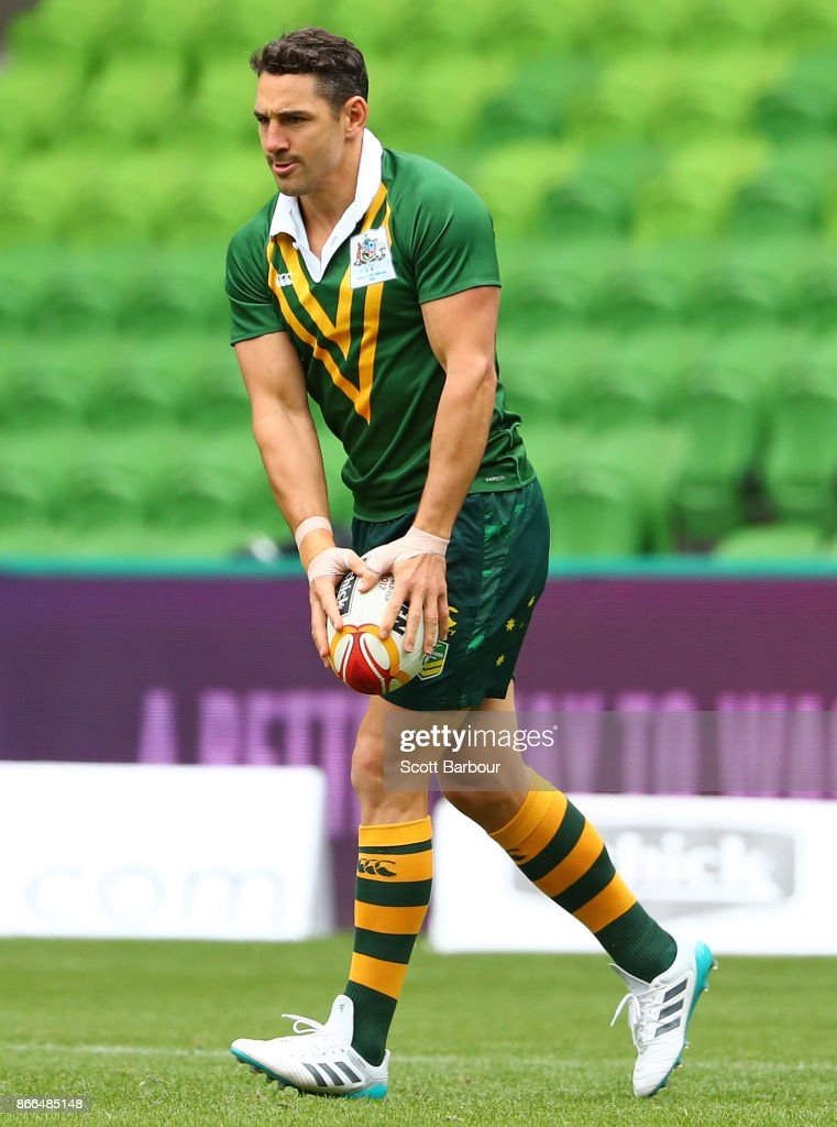 Billy Slater of the Kangaroos runs with the ball during an Australian Kangaroos training session on October 26, 2017 in Melbourne, Australia.