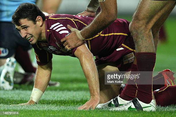 Billy Slater of the Maroons appears injured during game two of the ARL State of Origin series between the New South Wales Blues and the Queensland...