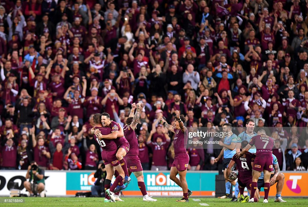 Billy Slater of the Maroons celebrates victory with team mates after game three of the State Of Origin series between the Queensland Maroons and the New South Wales Blues at Suncorp Stadium on July 12, 2017 in Brisbane, Australia.