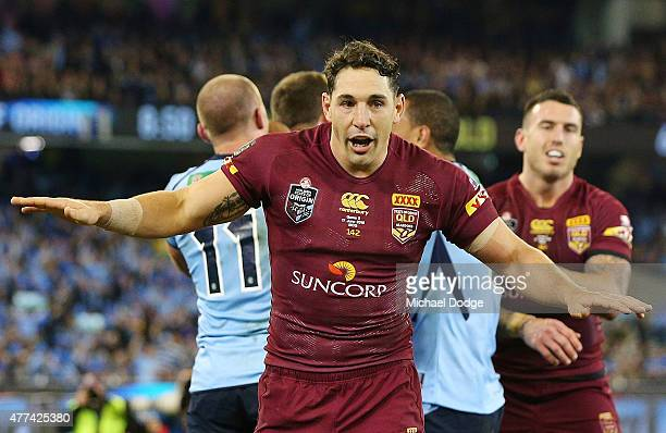Billy Slater of the Maroons disputes a try by Josh Morris of the Blues during game two of the State of Origin series between the New South Wales...