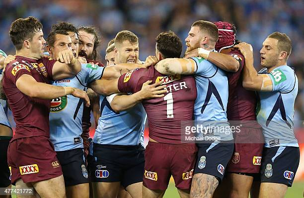 Billy Slater of the Maroons gets involved in a melee during game two of the State of Origin series between the New South Wales Blues and the...