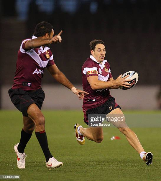 Billy Slater of the Maroons runs with the ball during a Queensland Maroons State of Origin captain's run at Etihad Stadium on May 22 2012 in...