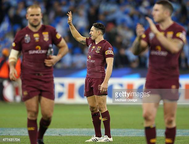 Billy Slater of the Maroons waves to the crowd after their defeat during game two of the State of Origin series between the New South Wales Blues and...