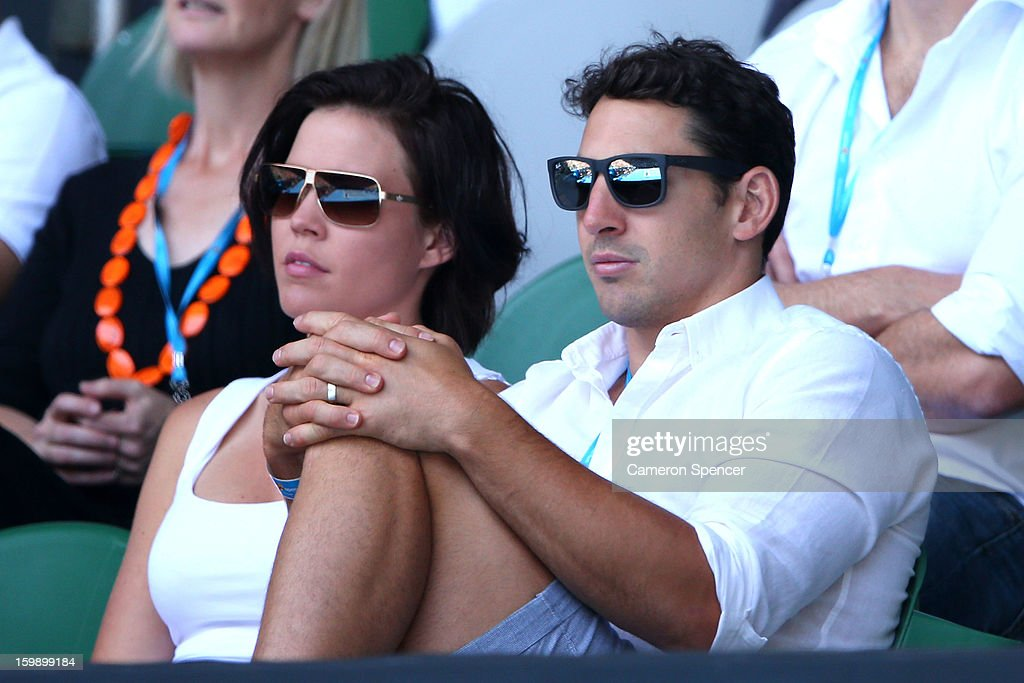 Billy Slater of the Melbourne Storm and his wife Nicole Slater watch the Quarterfinal match between Victoria Azarenka of Belarus and Svetlana Kuznetsova of Russia during day ten of the 2013 Australian Open at Melbourne Park on January 23, 2013 in Melbourne, Australia.