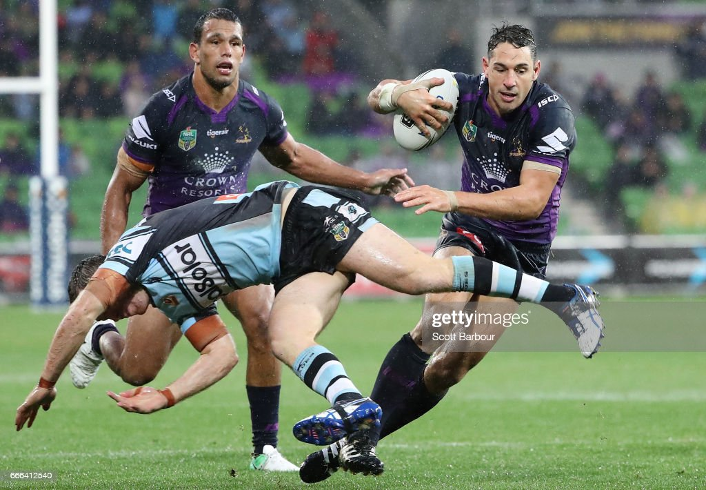 Billy Slater of the Melbourne Storm runs with the ball during the round six NRL match between the Melbourne Storm and the Cronulla Sharks at AAMI Park on April 9, 2017 in Melbourne, Australia.