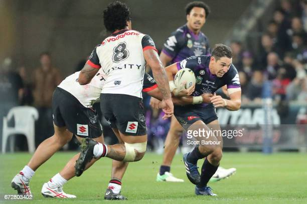 Billy Slater of the Melbourne Storm runs with the ball during the round eight NRL match between the Melbourne Storm and the New Zealand Warriors at...