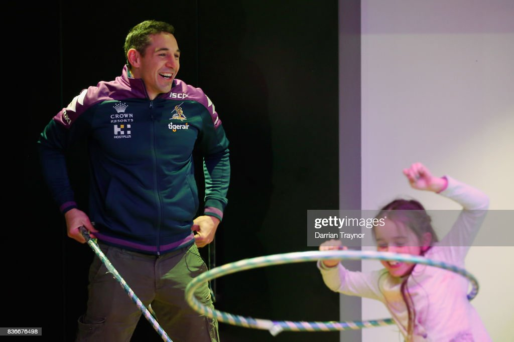 Billy Slater of the Melbourne Storm takes part in a hula hoop contest during a Melbourne Storm NRL media opportunity at the Royal Children's Hospital on August 22, 2017 in Melbourne, Australia.