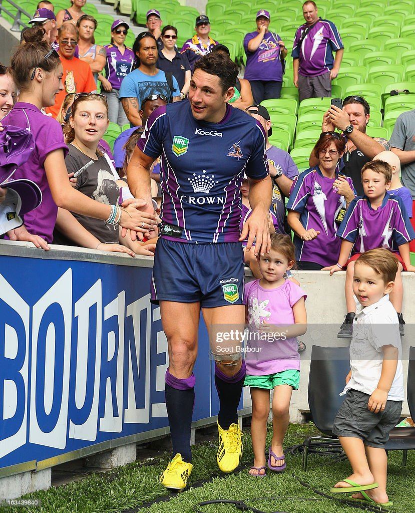 <a gi-track='captionPersonalityLinkClicked' href=/galleries/search?phrase=Billy+Slater&family=editorial&specificpeople=171206 ng-click='$event.stopPropagation()'>Billy Slater</a> of the Storm along with his daughter Tyla Rose and his son Jake greet fans after the round one NRL match between the Melbourne Storm and the St George Illawarra Dragons at AAMI Park on March 10, 2013 in Melbourne, Australia.