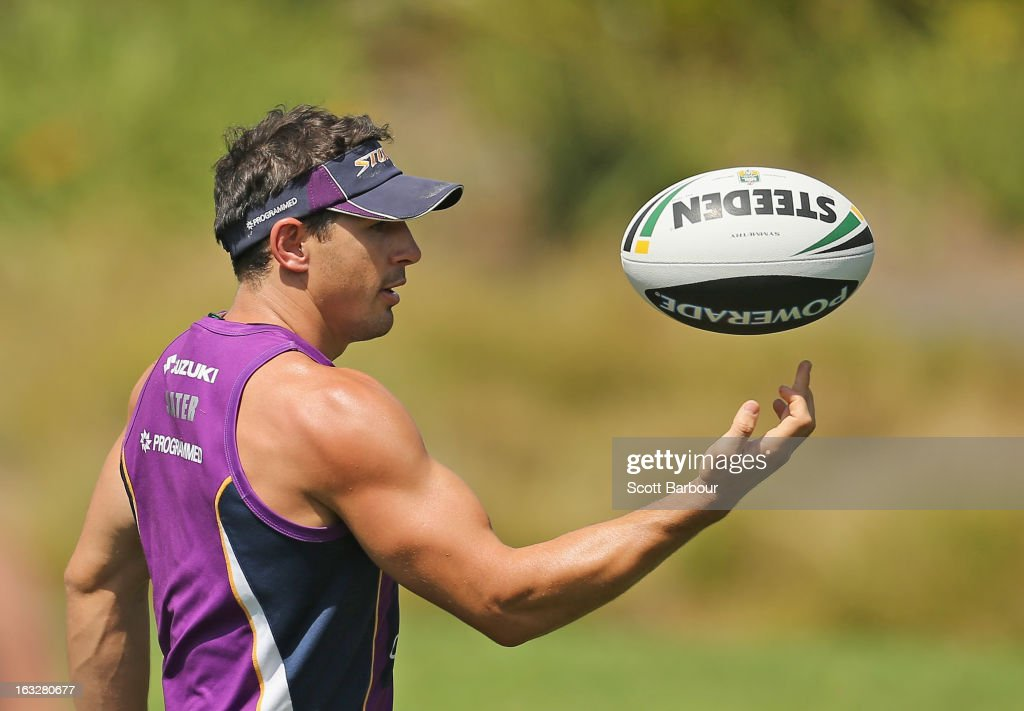 <a gi-track='captionPersonalityLinkClicked' href=/galleries/search?phrase=Billy+Slater&family=editorial&specificpeople=171206 ng-click='$event.stopPropagation()'>Billy Slater</a> of the Storm catches the ball during a Melbourne Storm NRL training session at Gosch's Paddock on March 7, 2013 in Melbourne, Australia.
