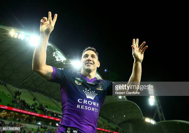 Billy Slater of the Storm celebrates after the Storm defeated the Broncos during the NRL Preliminary Final match between the Melbourne Storm and the...