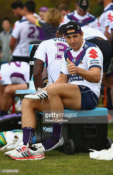 Billy Slater of the Storm gives the thumbs up during a Melbourne Storm NRL training session at Gosch's Paddock on April 22 2015 in Melbourne Australia