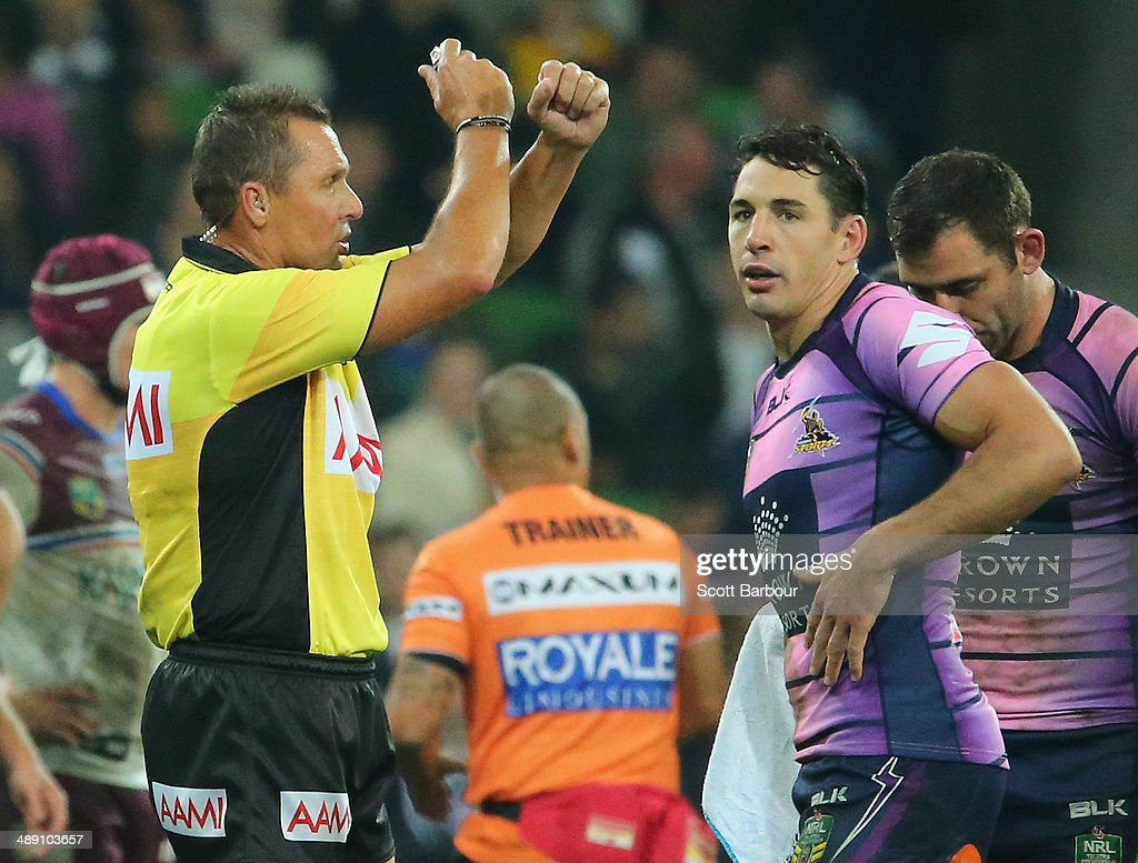 Billy Slater of the Storm is put on report by the referee after a tackle on David Williams of the Sea Eagles during the round nine NRL match between the Melbourne Storm and the Manly-Warringah Sea Eagles at AAMI Park on May 10, 2014 in Melbourne, Australia.