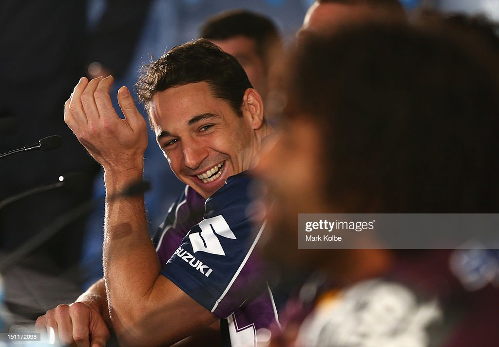 Billy Slater of the Storm laughs as the captains speak to the media during the 2012 NRL finals series launch at Allianz Stadium on September 3, 2012 in Sydney, Australia.
