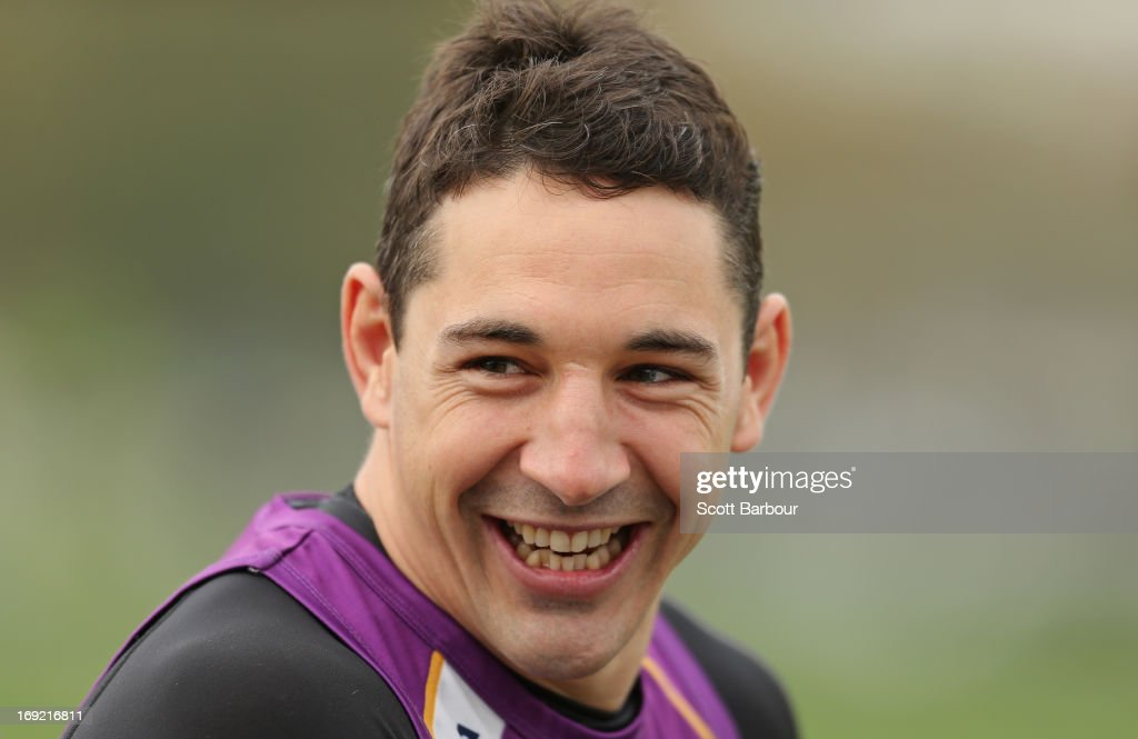 Billy Slater of the Storm laughs during a Melbourne Storm NRL training session at Gosch's Paddock on May 22, 2013 in Melbourne, Australia.