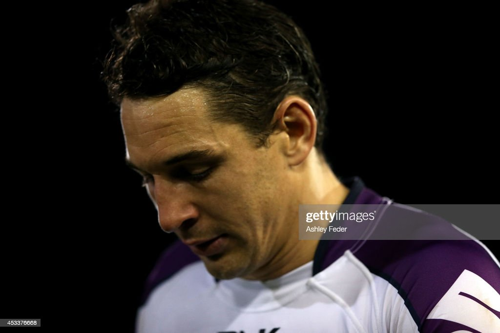 Billy Slater of the Storm looking dejected after losing the round 22 NRL match between the Newcastle Knights and the Melbourne Storm at Hunter...
