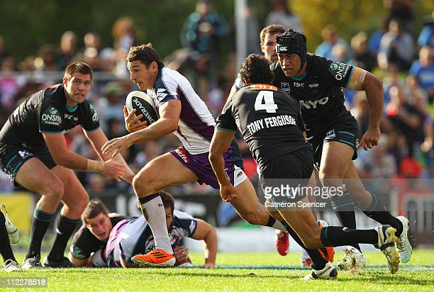 Billy Slater of the Storm makes a break during the round six NRL match between the Penrith Panthers and the Melbourne Storm at Centrebet Stadium on...