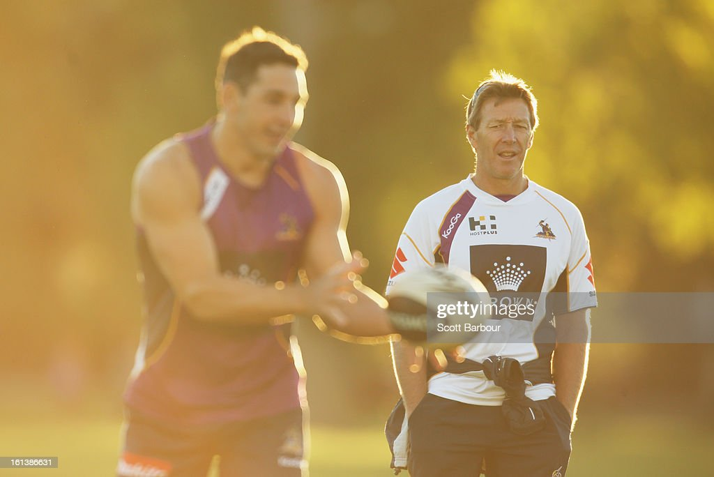 <a gi-track='captionPersonalityLinkClicked' href=/galleries/search?phrase=Billy+Slater&family=editorial&specificpeople=171206 ng-click='$event.stopPropagation()'>Billy Slater</a> of the Storm passes the ball as Storm coach Craig Bellamy (R) looks on during a Melbourne Storm NRL training session at Gosch's Paddock on February 11, 2013 in Melbourne, Australia.
