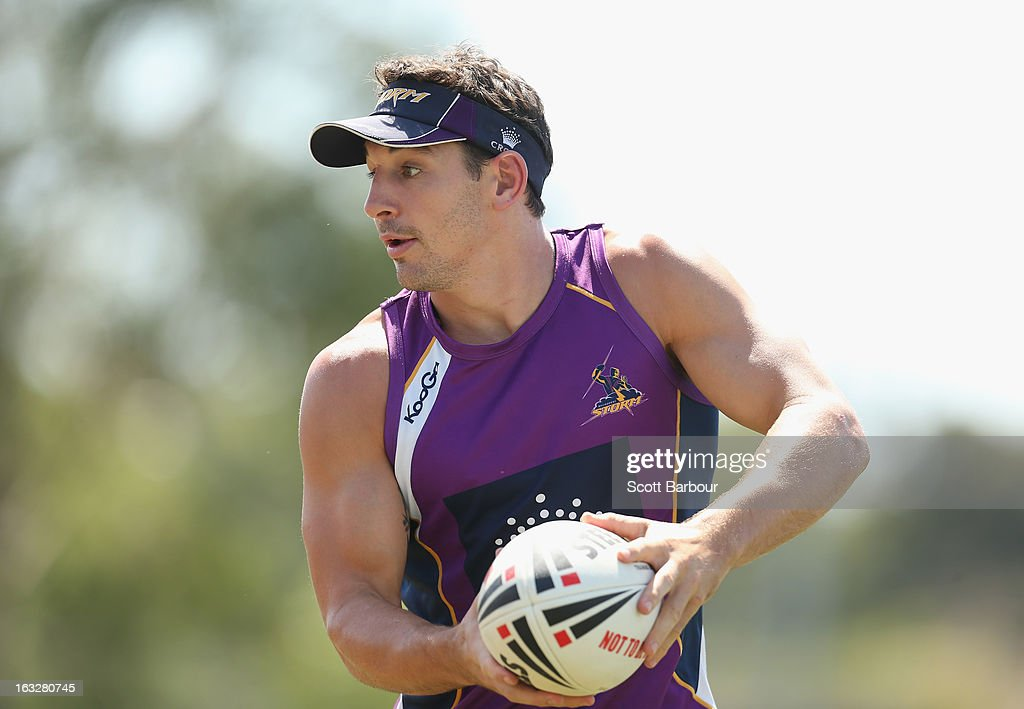 Billy Slater of the Storm passes the ball during a Melbourne Storm NRL training session at Gosch's Paddock on March 7, 2013 in Melbourne, Australia.