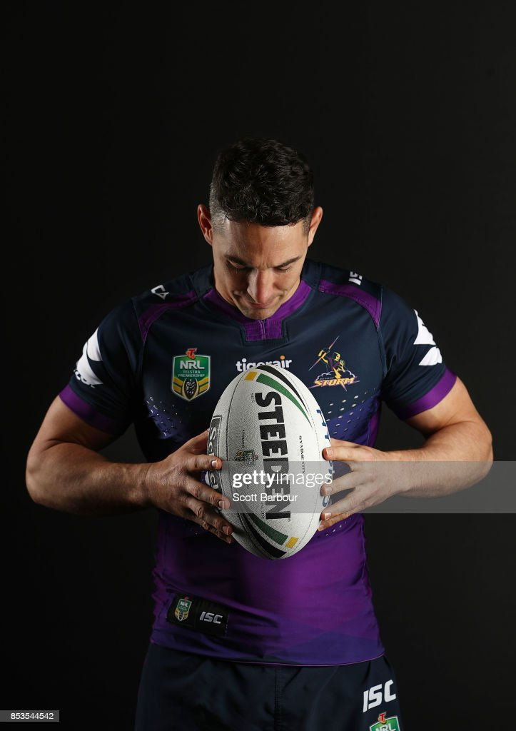 Billy Slater of the Storm poses during a Melbourne Storm NRL training session at Gosch's Paddock on September 25, 2017 in Melbourne, Australia.