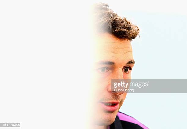 Billy Slater of the Storm speaks to the media during a Melbourne Storm NRL media session at AAMI Park on February 23 2016 in Melbourne Australia