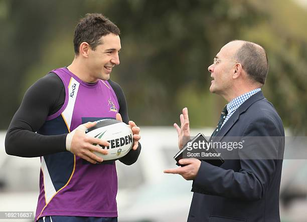Billy Slater of the Storm talks with Mark Evans the newly appointed Melbourne Storm CEO during a Melbourne Storm NRL training session at Gosch's...