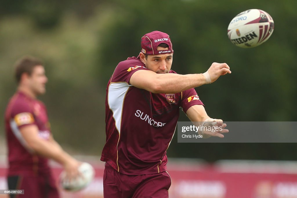 Billy Slater passes during a Queensland Maroons State of Origin training session at Intercontinental Sanctuary Cove Resort on June 16, 2017 in Brisbane, Australia.