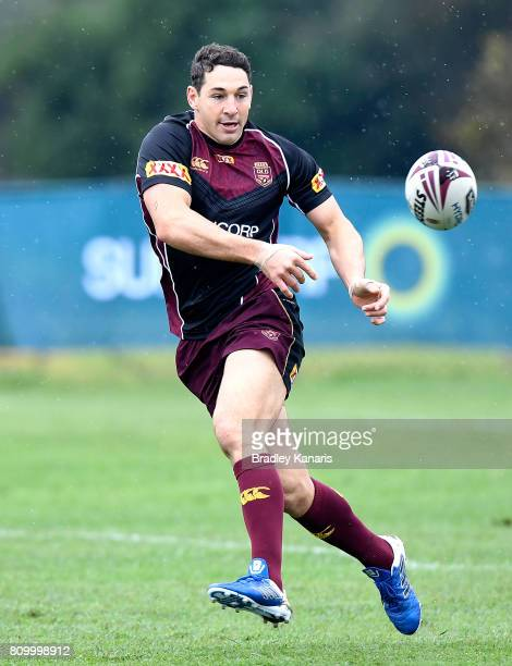 Billy Slater passes the ball during a Queensland Maroons State of Origin training session at Sanctuary Cove on July 7 2017 in Brisbane Australia