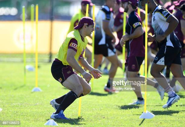Billy Slater runs through a training drill during a Queensland Maroons training session at Sanctuary Cove Resort on June 18 2017 at the Gold Coast...
