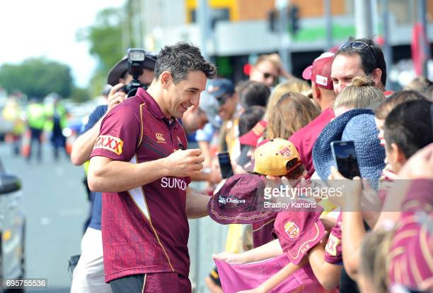 Billy Slater signs autographs for fans during a Queensland Maroons State of Origin fan day on June 14 2017 in Mackay Australia