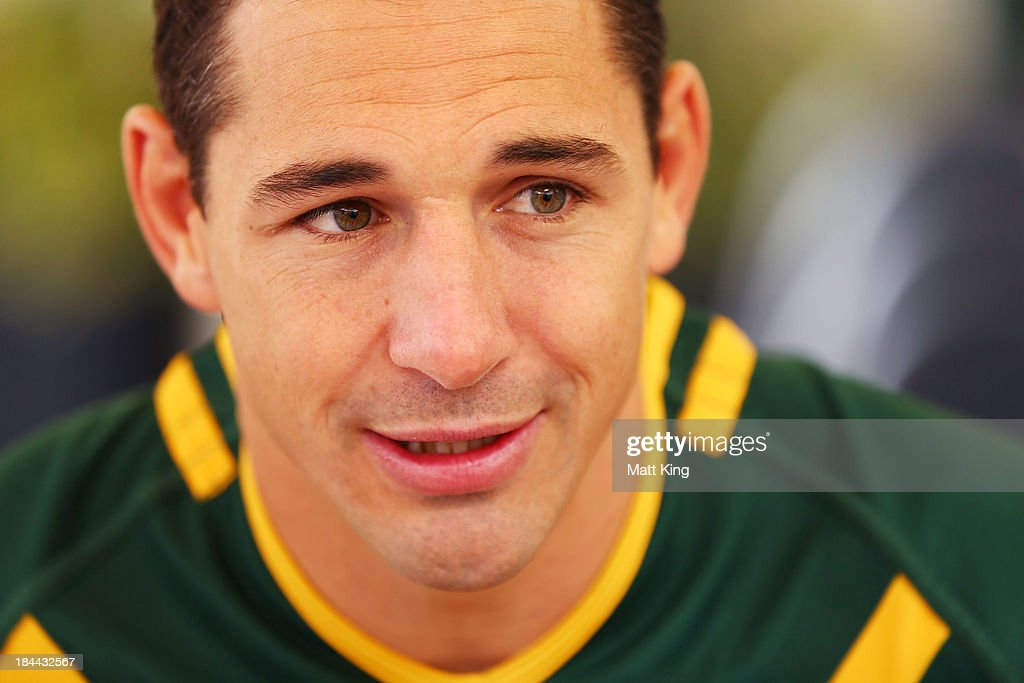 <a gi-track='captionPersonalityLinkClicked' href=/galleries/search?phrase=Billy+Slater&family=editorial&specificpeople=171206 ng-click='$event.stopPropagation()'>Billy Slater</a> speaks to the media during an Australian Kangaroos Rugby League World Cup teamphoto session at Crowne Plaza, Coogee on October 14, 2013 in Sydney, Australia.