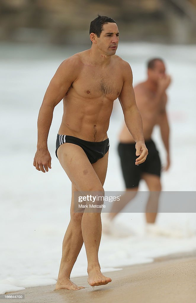 billy Slater walks from the ocean during an Australian Kangaroos training session at Coogee Beach on April 15, 2013 in Sydney, Australia.