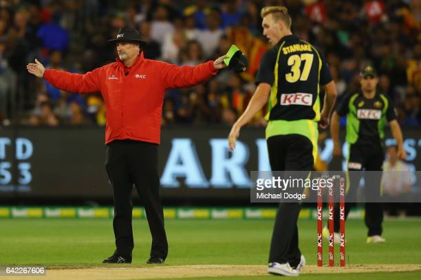 Billy Stanlake of Australia bowls a wide that goes to the boundary during the first International Twenty20 match between Australia and Sri Lanka at...