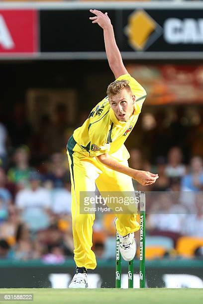 Billy Stanlake of Australia bowls during game one of the One Day International series between Australia and Pakistan at The Gabba on January 13 2017...