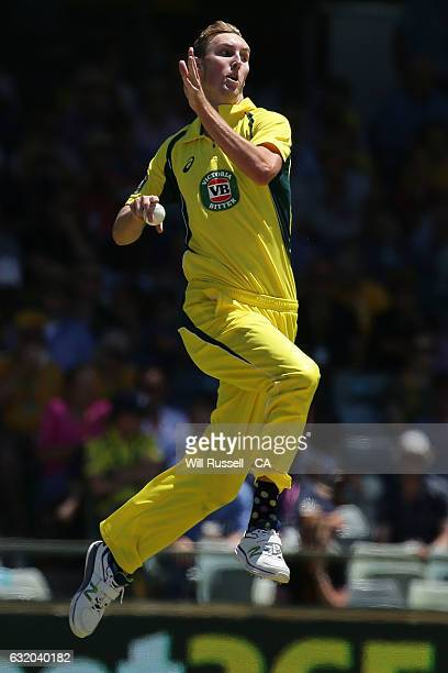 Billy Stanlake of Australia bowls during game three of the One Day International series between Australia and Pakistan at WACA on January 19 2017 in...