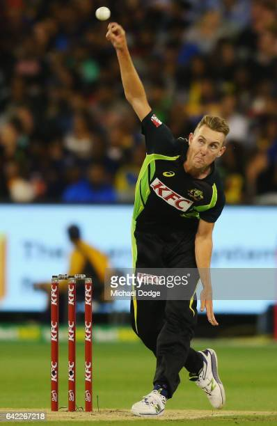 Billy Stanlake of Australia bowls during the first International Twenty20 match between Australia and Sri Lanka at Melbourne Cricket Ground on...