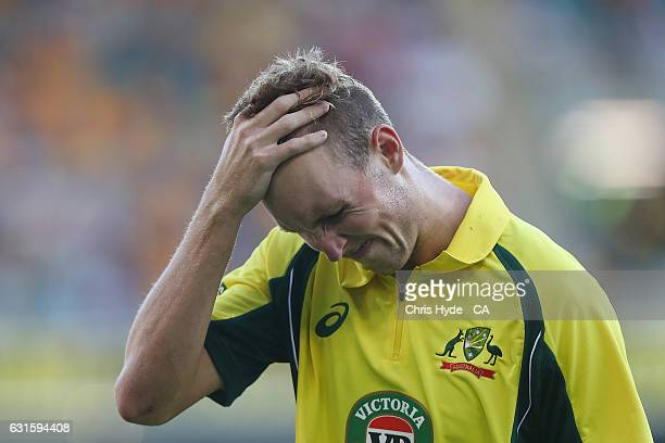 Billy Stanlake of Australia looks on during game one of the One Day International series between Australia and Pakistan at The Gabba on January 13...