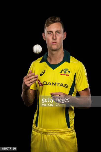 Billy Stanlake of Australia poses during the Australia cricket team portrait session at Intercontinental Double Bay on October 15 2017 in Sydney...